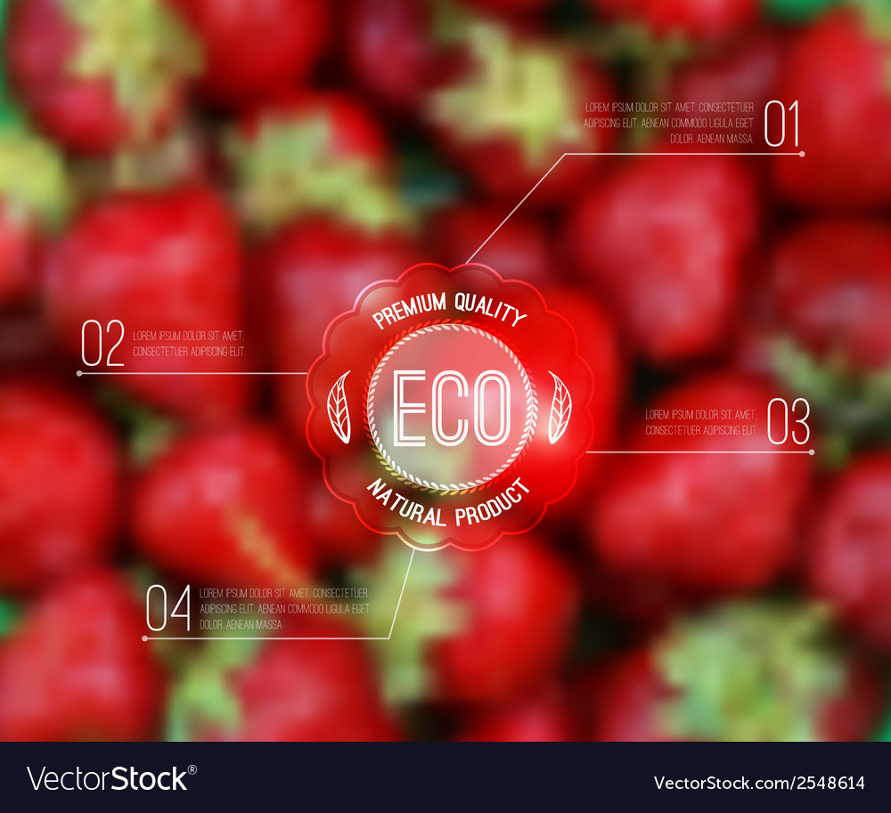 Blurred background with strawberry and eco label vector | Price: 1 Credit (USD $1)