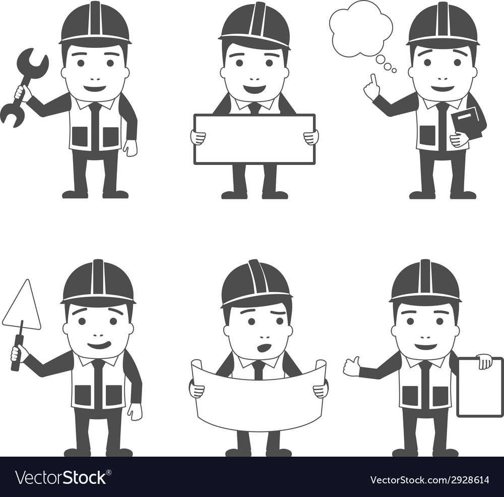Builder characters set black vector | Price: 1 Credit (USD $1)