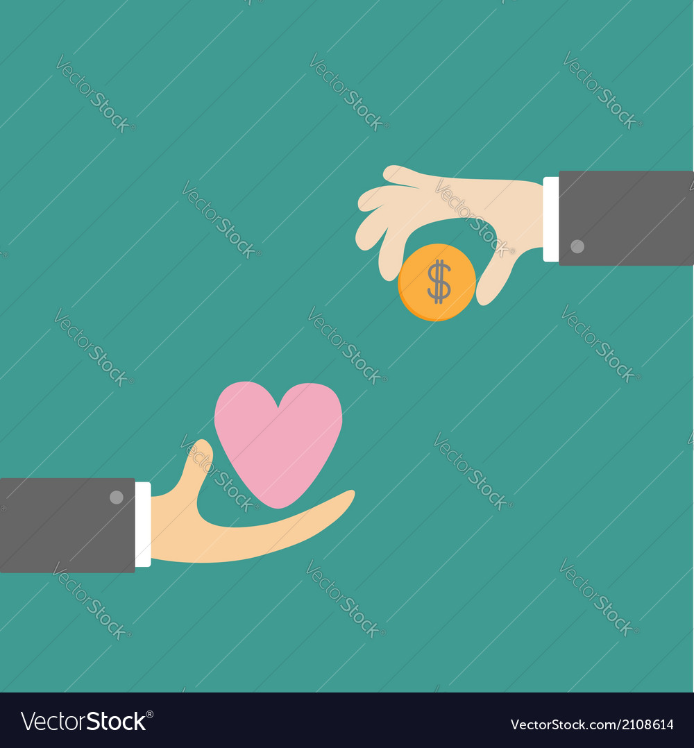Hands with heart and money dollar coin exchanging vector | Price: 1 Credit (USD $1)