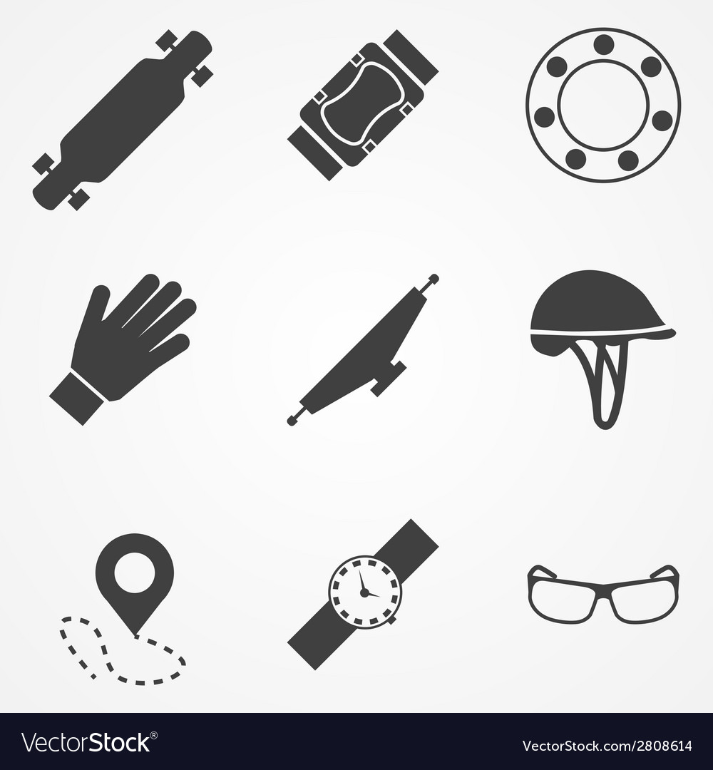 Icons for accessories for longboarders vector | Price: 1 Credit (USD $1)