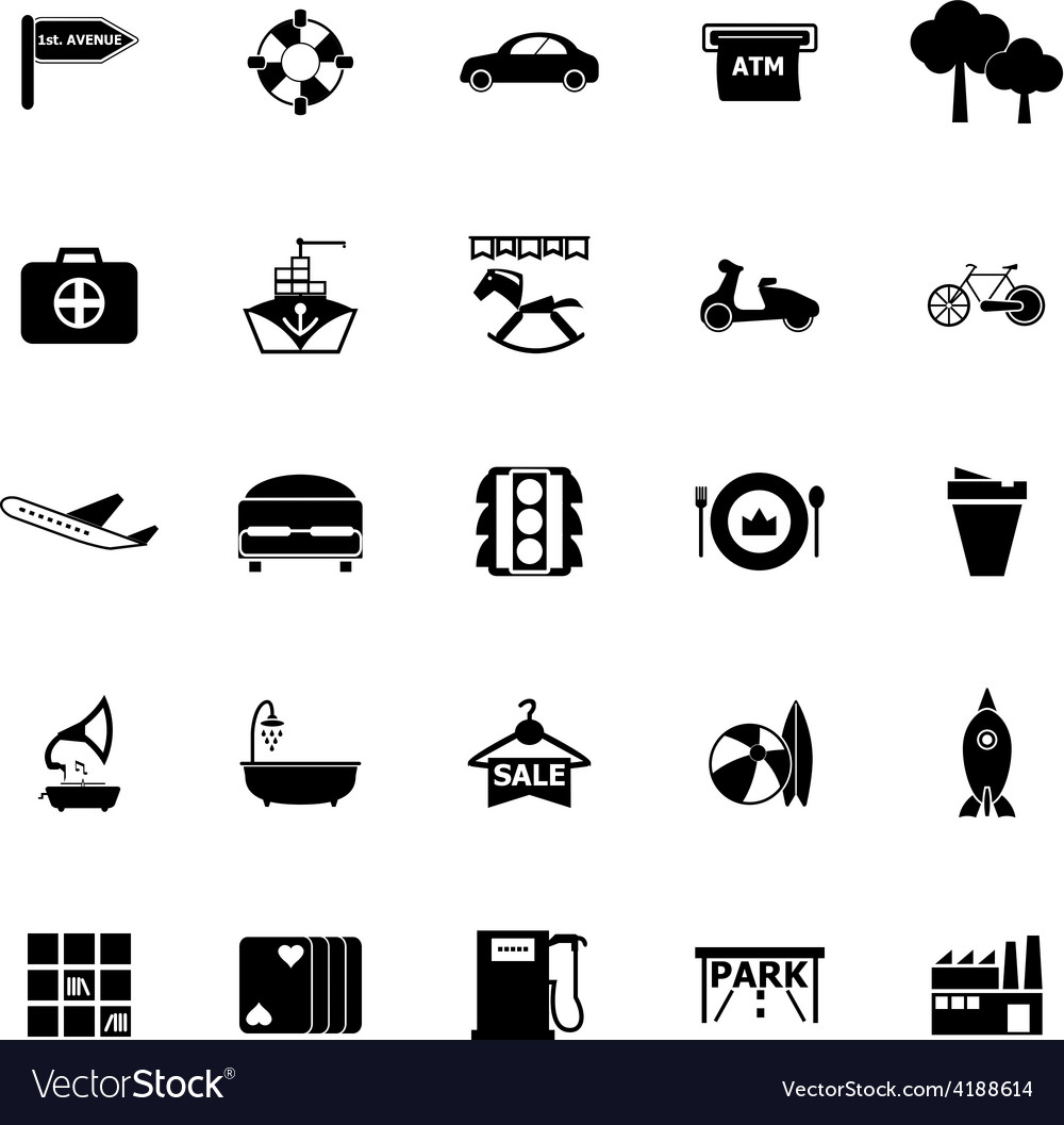 Map place icons on white background vector | Price: 1 Credit (USD $1)