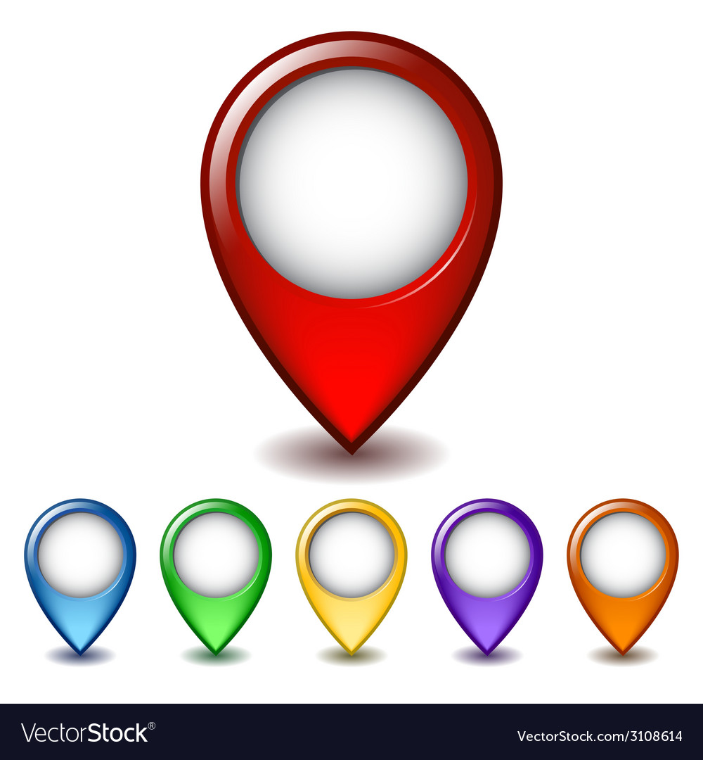 Set of bright map pointer icon vector | Price: 1 Credit (USD $1)