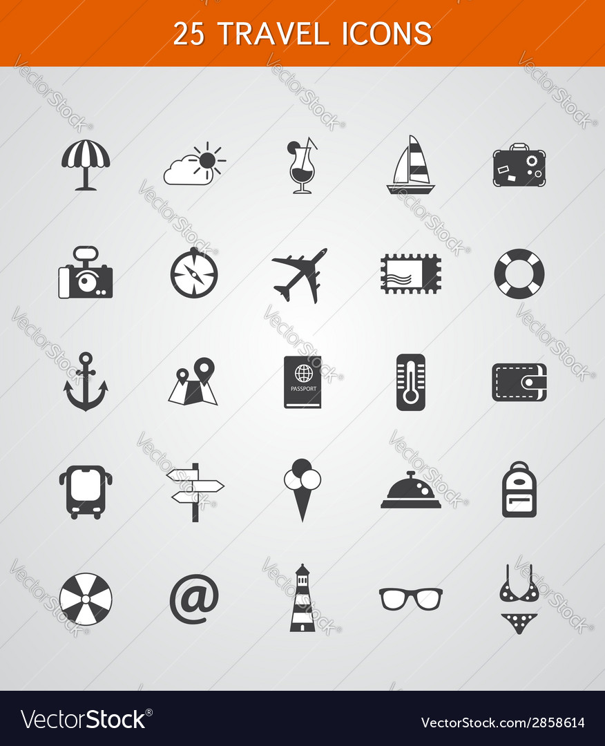 Set of travel flat design icons vector | Price: 1 Credit (USD $1)