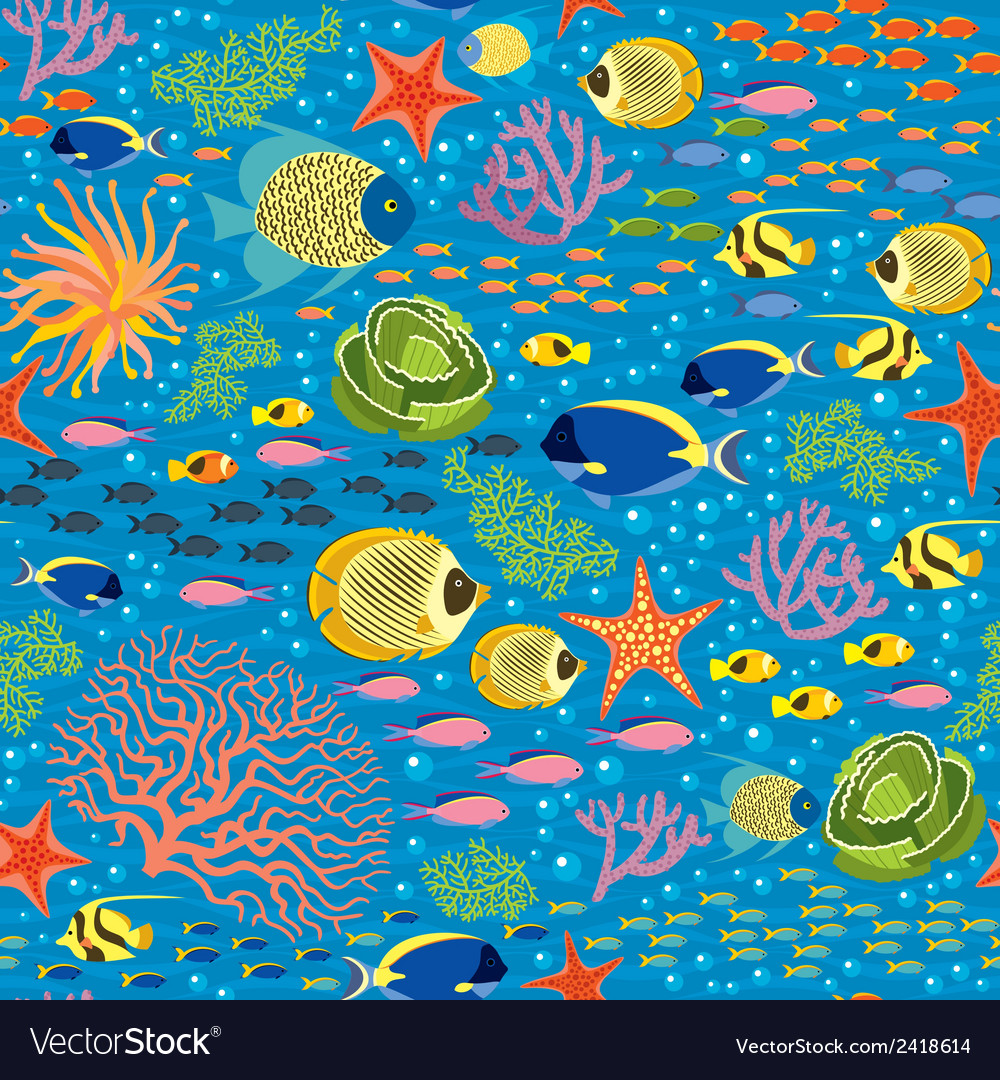 Underwater fishes seamless pattern vector | Price: 1 Credit (USD $1)