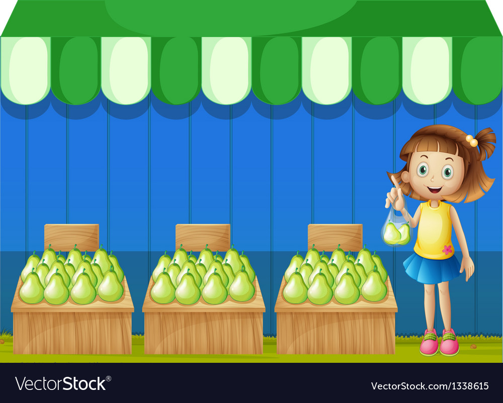 A girl at the fruit market vector | Price: 1 Credit (USD $1)