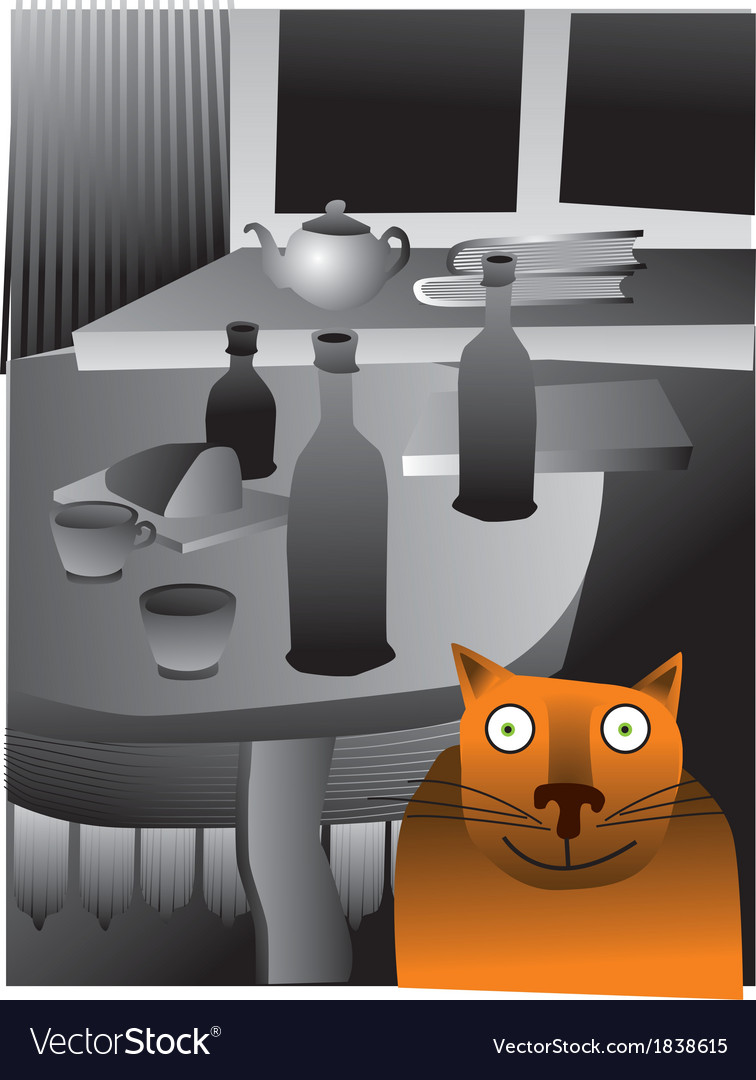 Cat and table vector | Price: 1 Credit (USD $1)