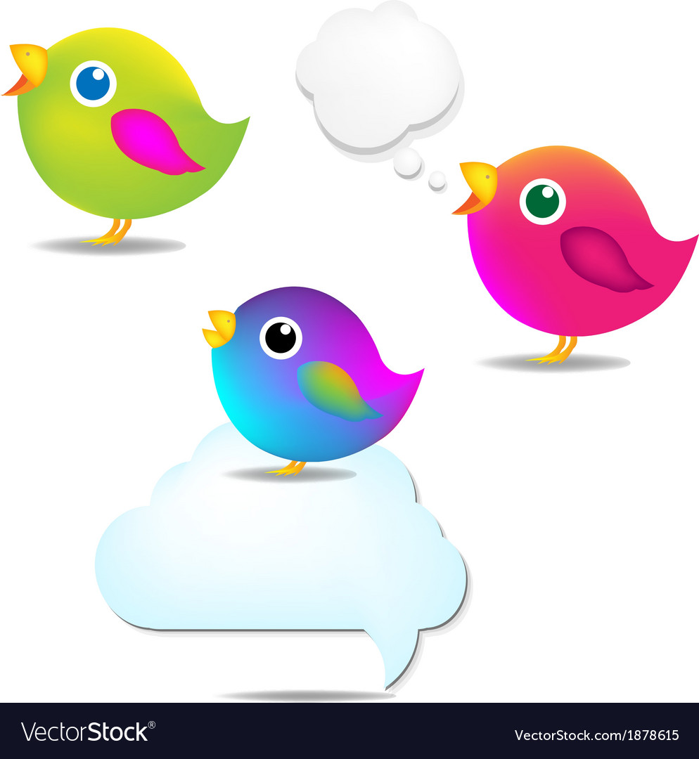 Color birds set with speech bubble vector | Price: 1 Credit (USD $1)