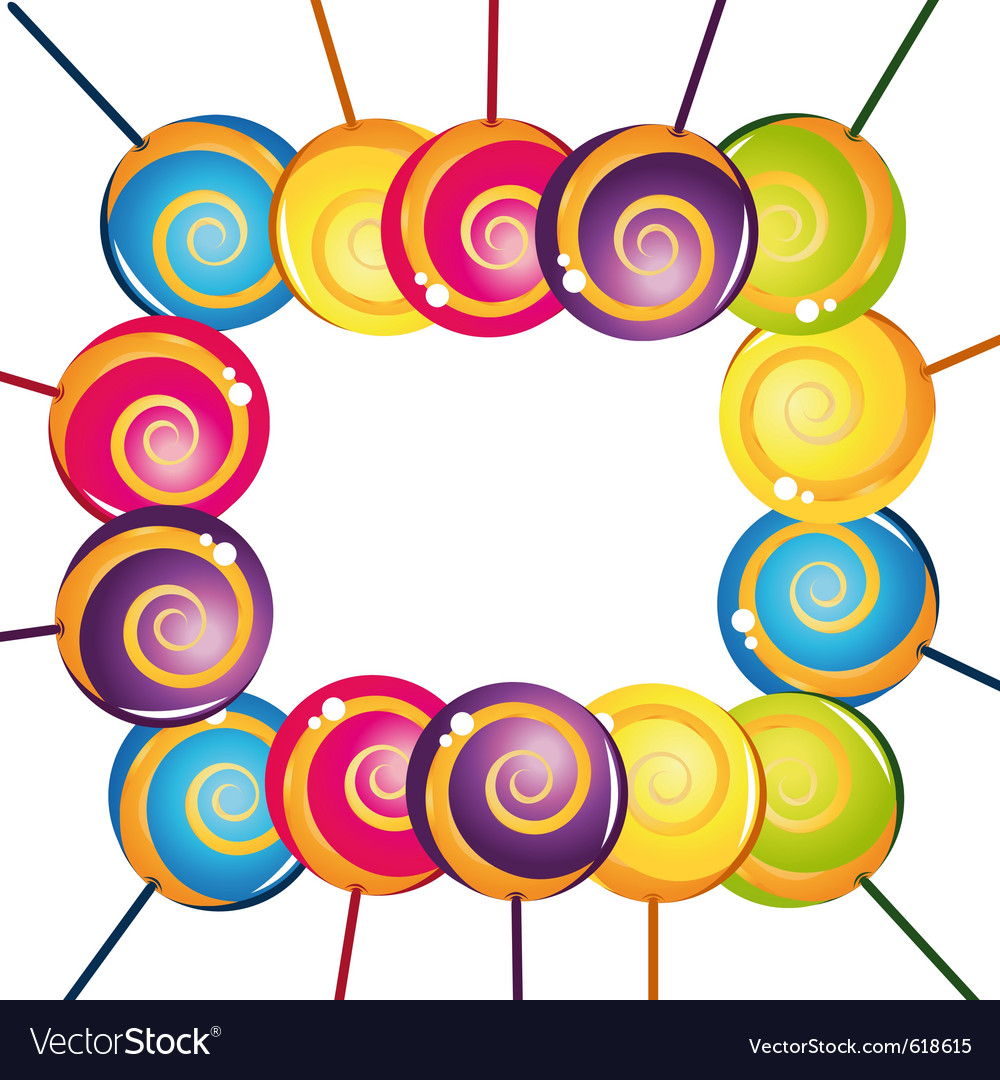 Colorful delicious lollipop collection frame vector | Price: 1 Credit (USD $1)