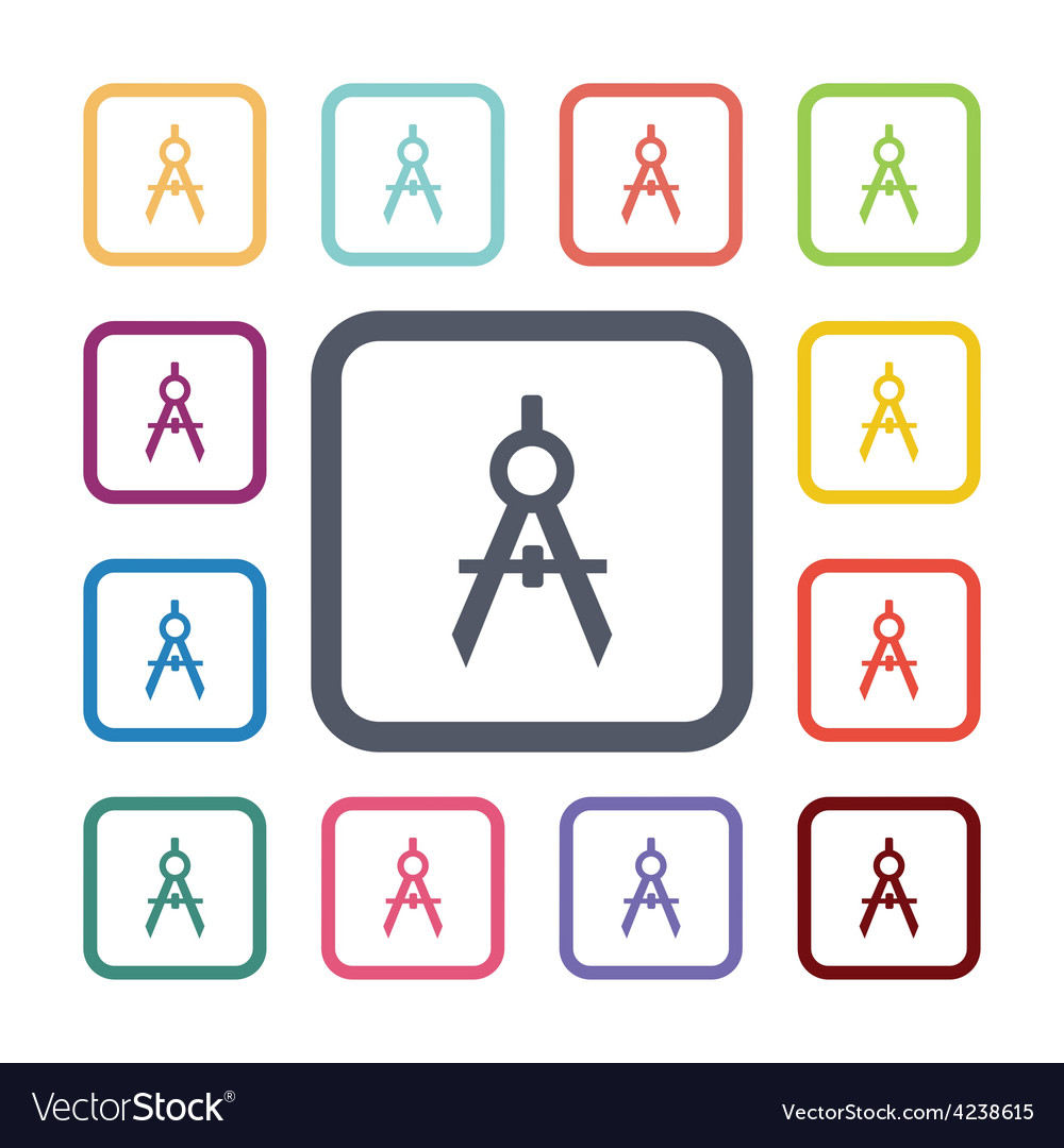 Compasses flat icons set vector   Price: 1 Credit (USD $1)
