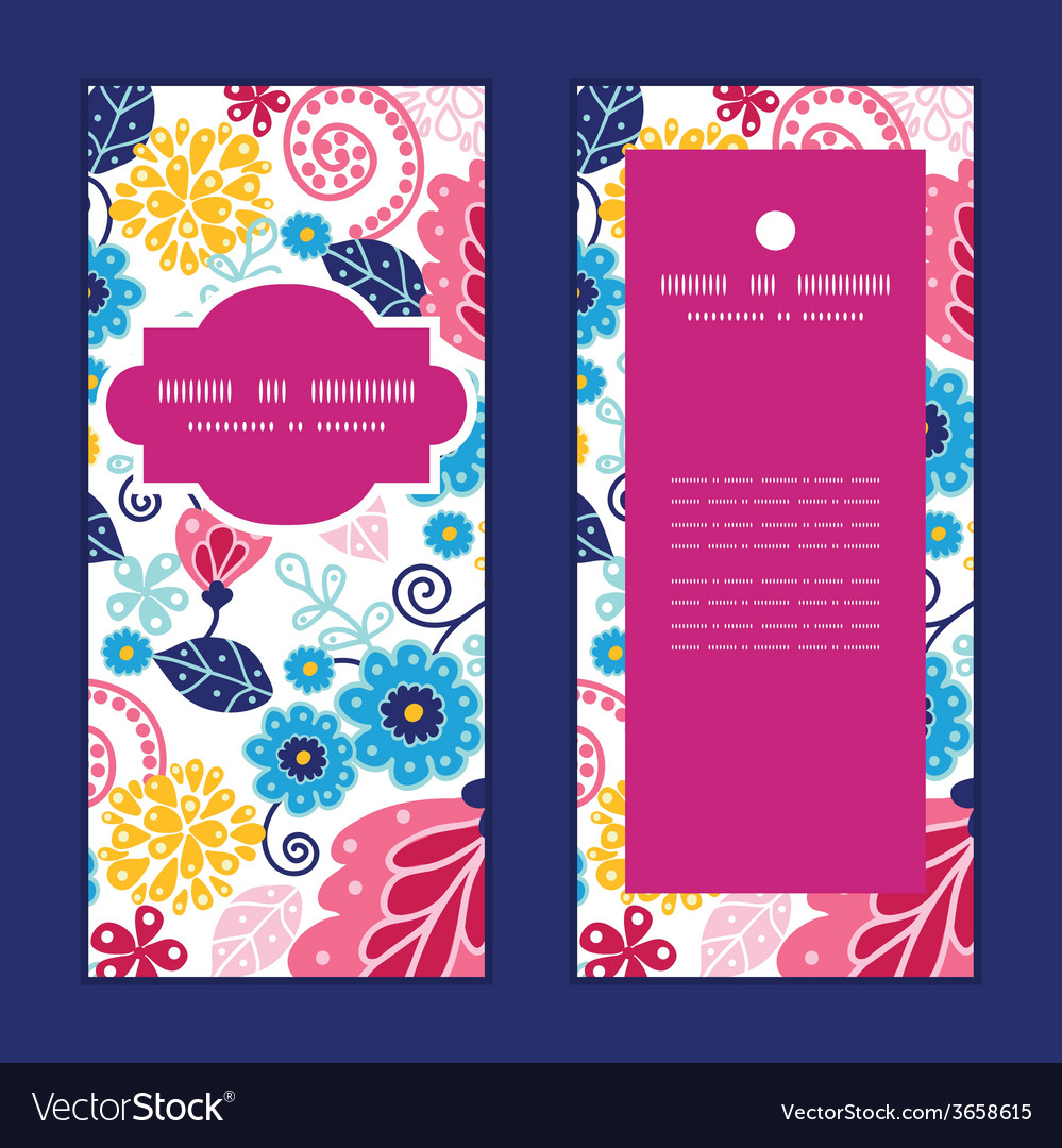 Fairytale flowers vertical frame pattern vector | Price: 1 Credit (USD $1)