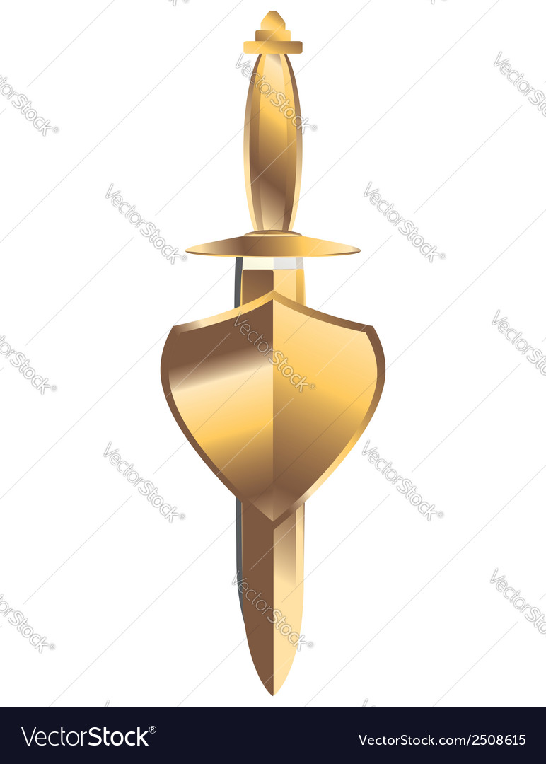 Gold sheathed dagger under gold shield vector | Price: 1 Credit (USD $1)