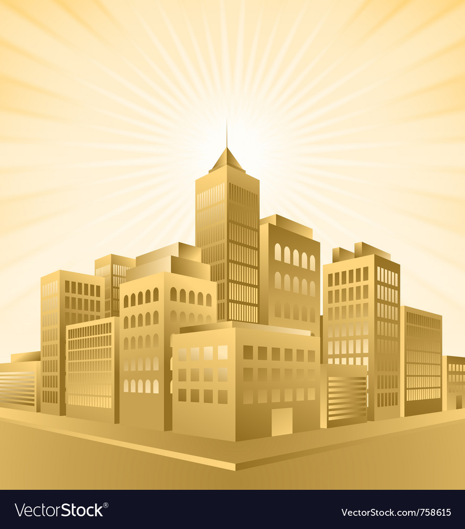 Golden town vector | Price: 3 Credit (USD $3)