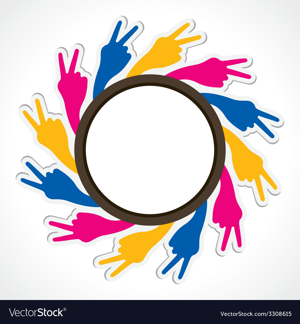 Hand show victory sign arrange in round shape vector | Price: 1 Credit (USD $1)