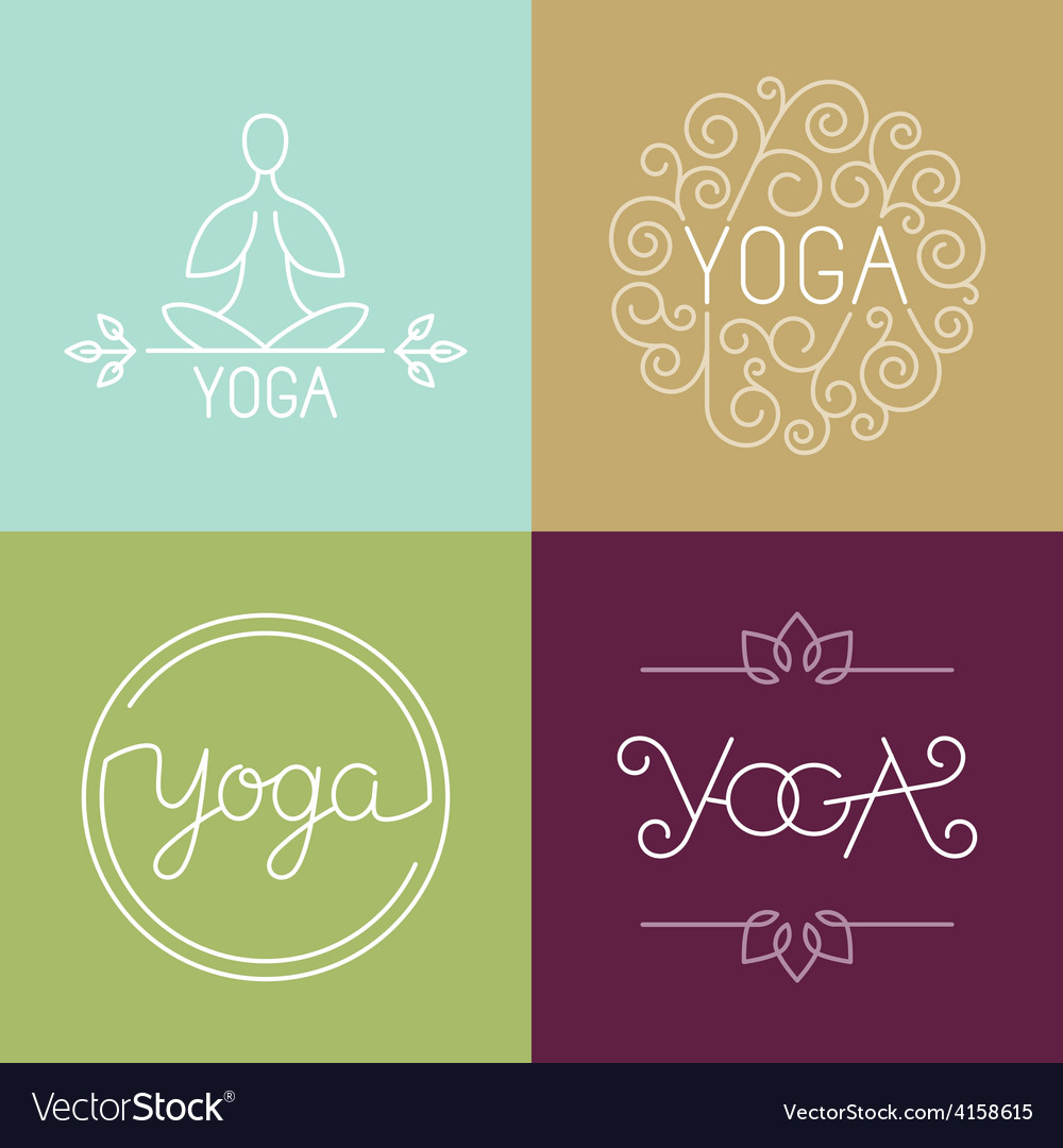 Linear yoga logo vector | Price: 1 Credit (USD $1)