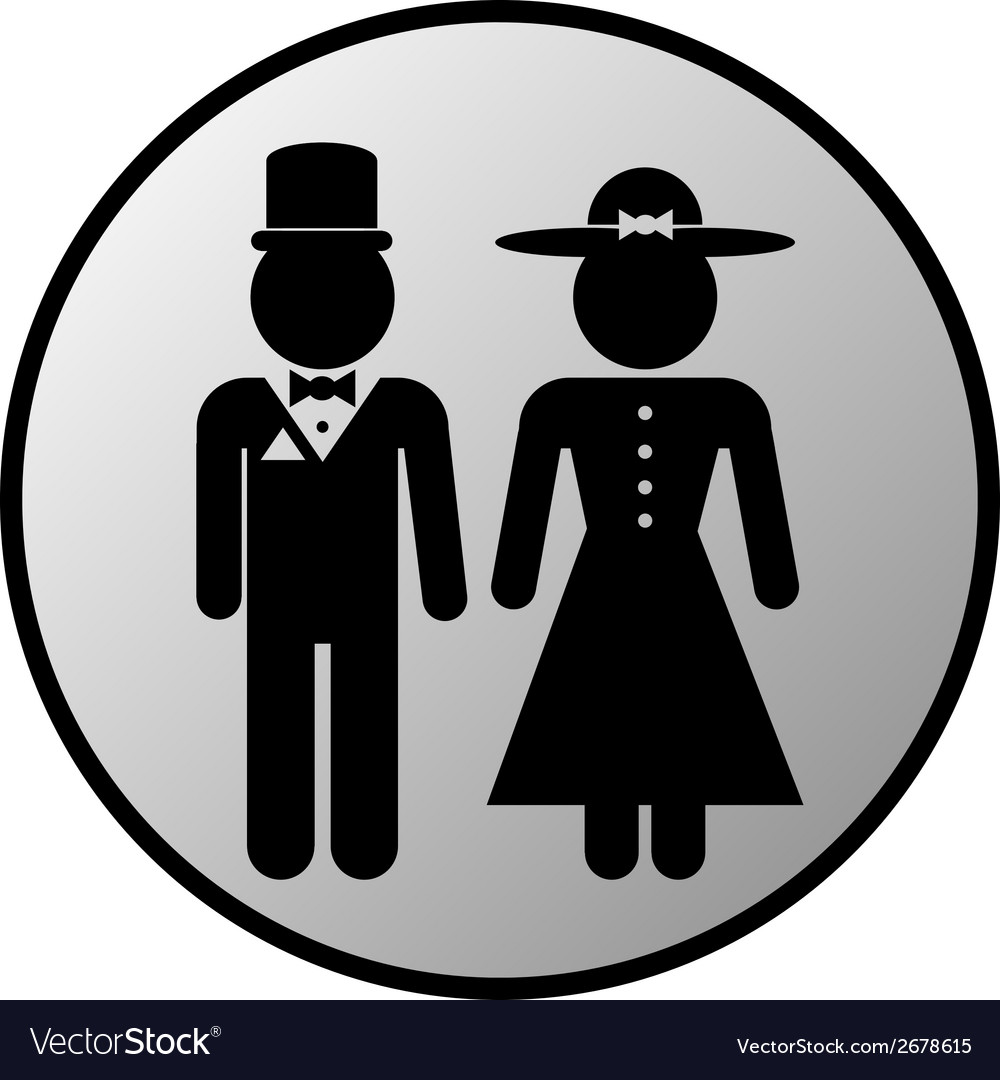 Male and female restroom symbol button vector   Price: 1 Credit (USD $1)