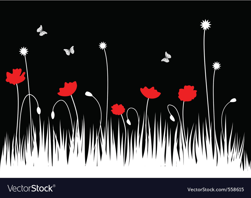 Poppy meadow vector | Price: 1 Credit (USD $1)