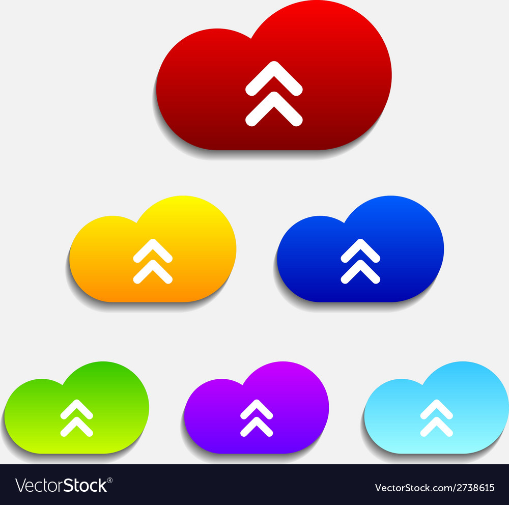 Set of six colorful upload cloud icons vector | Price: 1 Credit (USD $1)