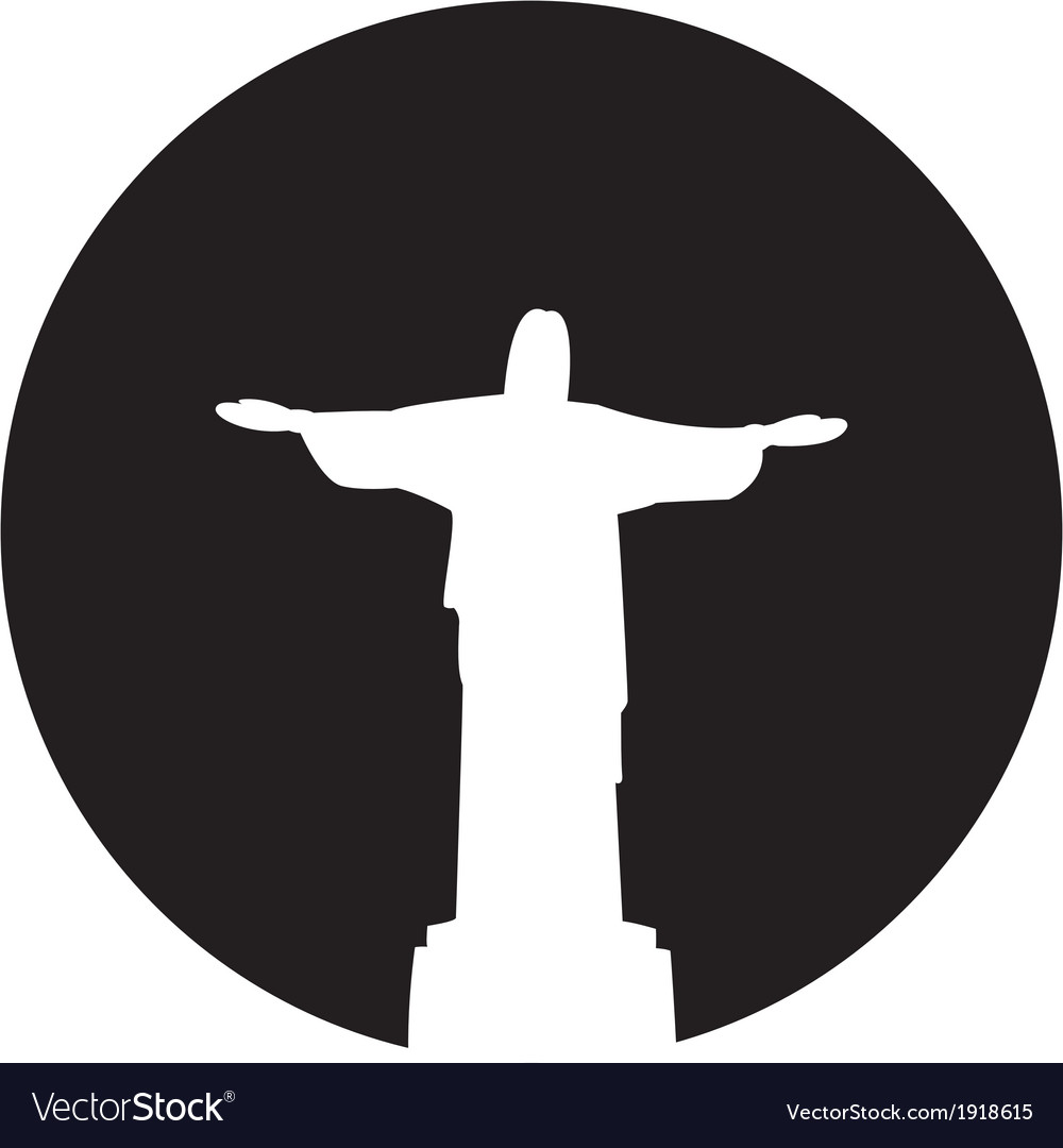 Silhouette of a statue to jesus christ in rio de vector | Price: 1 Credit (USD $1)