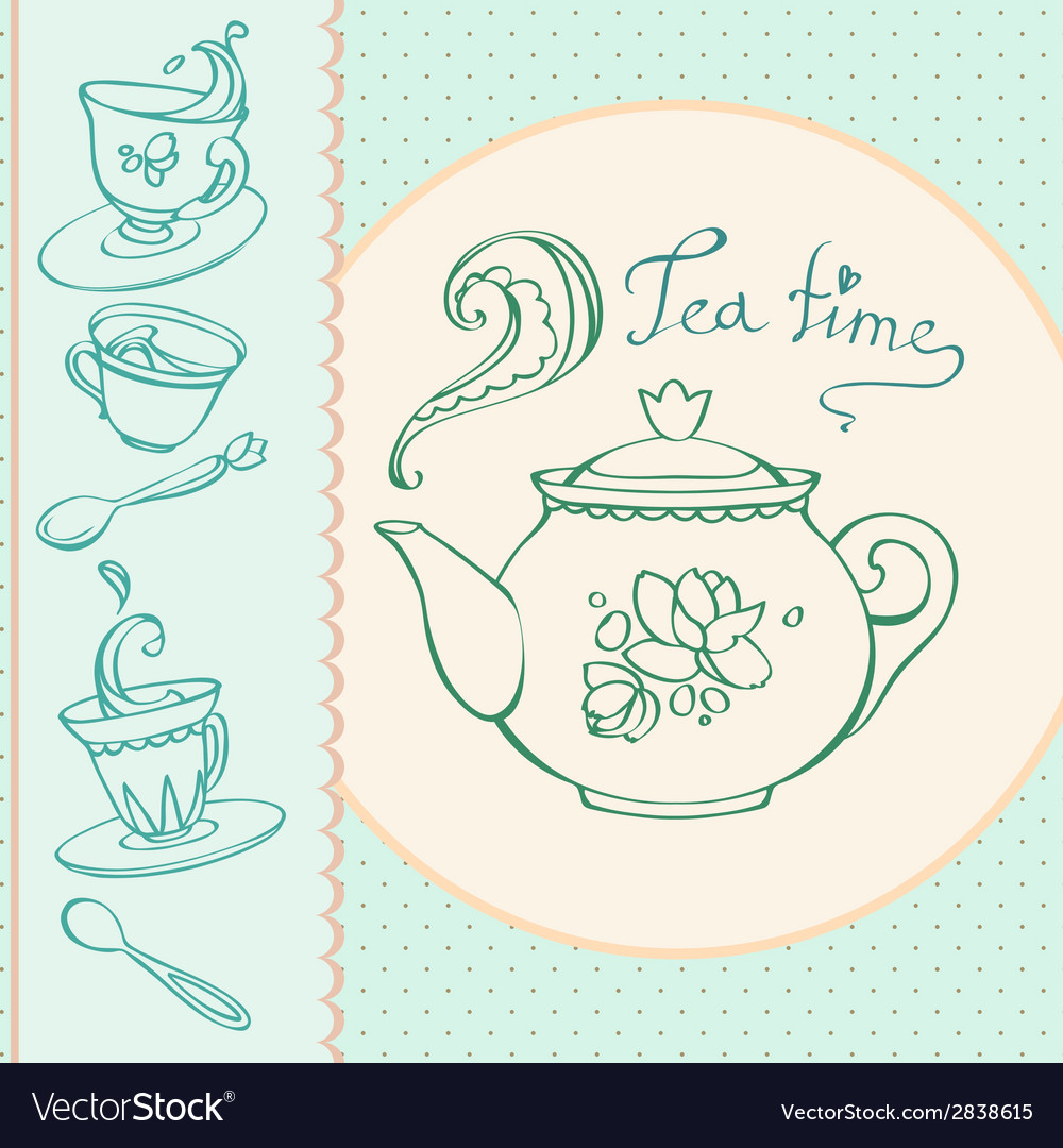 Teatime greeting card with mugs vector | Price: 1 Credit (USD $1)