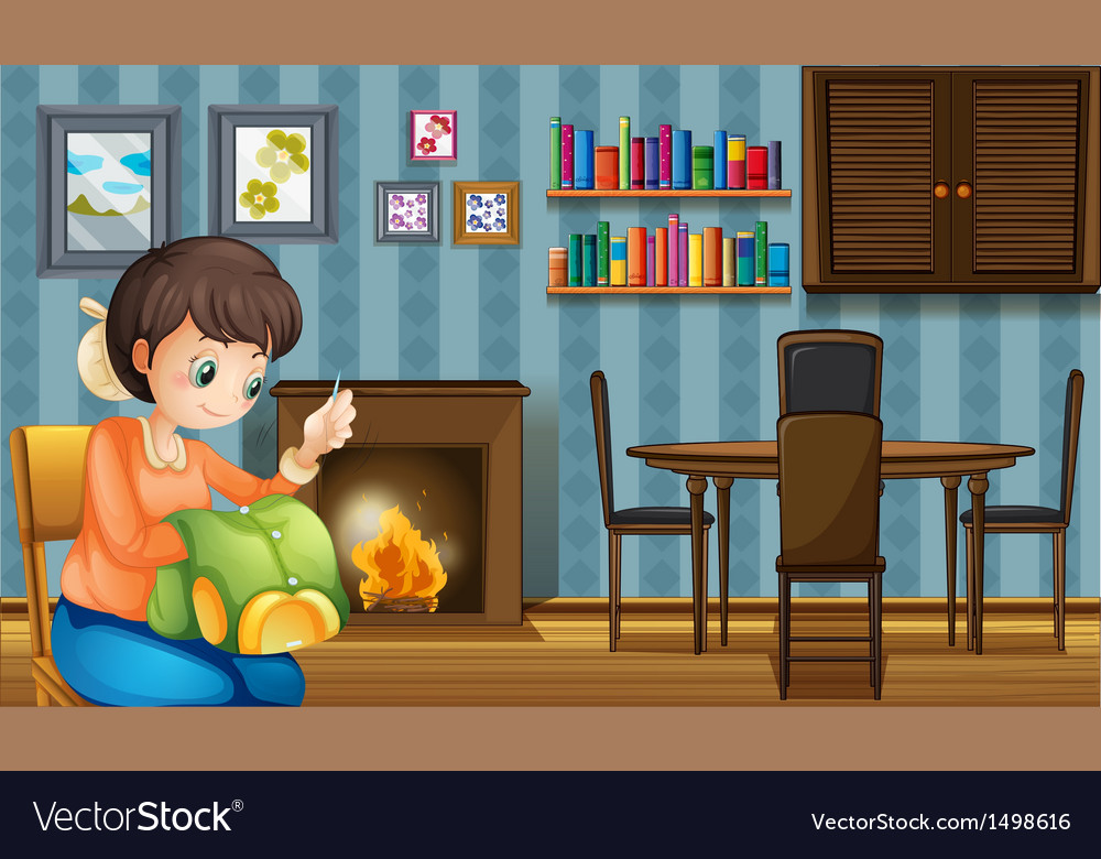 A mother sewing near the fireplace vector   Price: 1 Credit (USD $1)