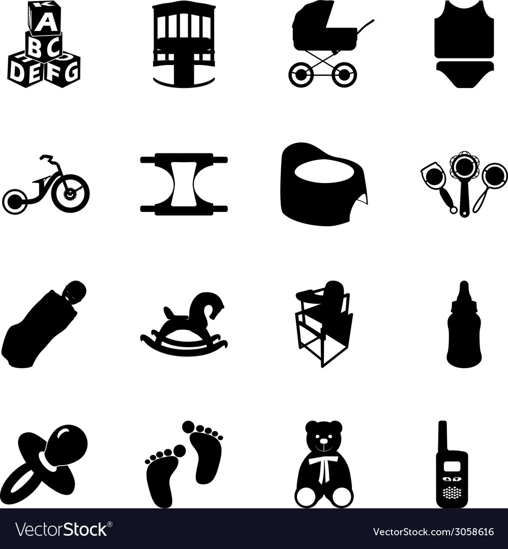 Baby and kids black and white flat icons set vector | Price: 1 Credit (USD $1)