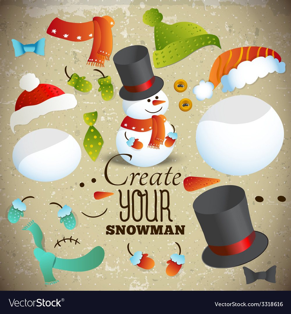 Create your snowman set of elements for collage vector | Price: 1 Credit (USD $1)