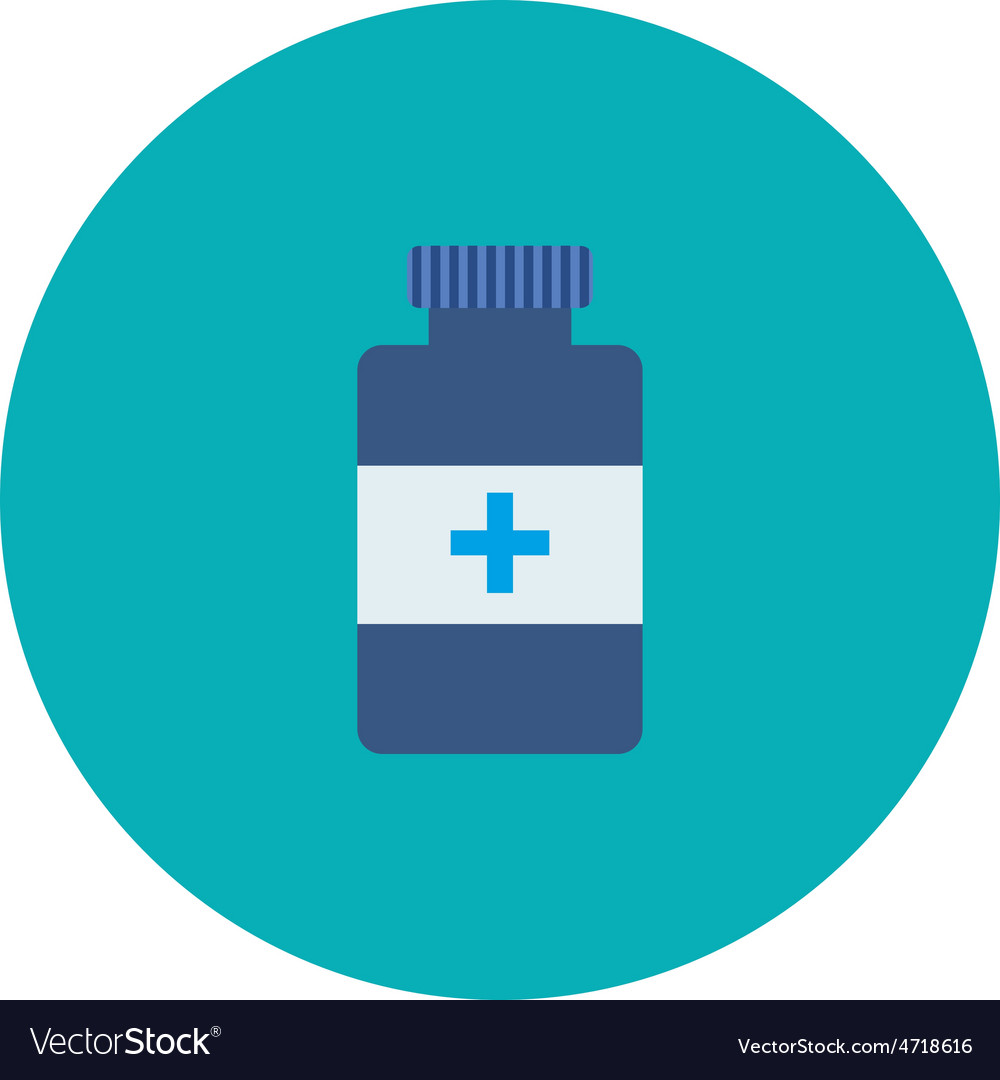 Flat bottle with medical pills icon vector