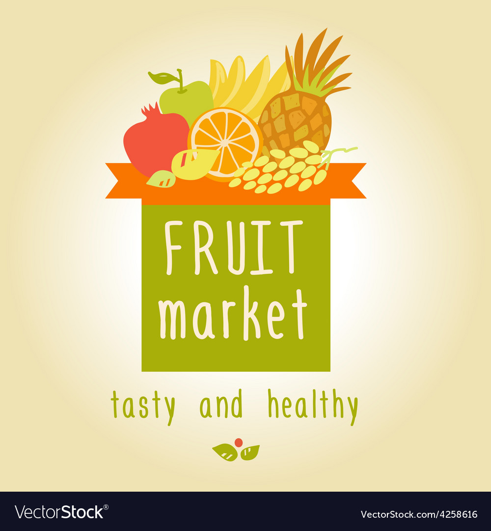 Fruit market tasty and healthy editable template vector | Price: 1 Credit (USD $1)
