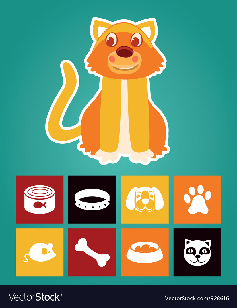 Funny cartoon cat and icons vector | Price: 1 Credit (USD $1)