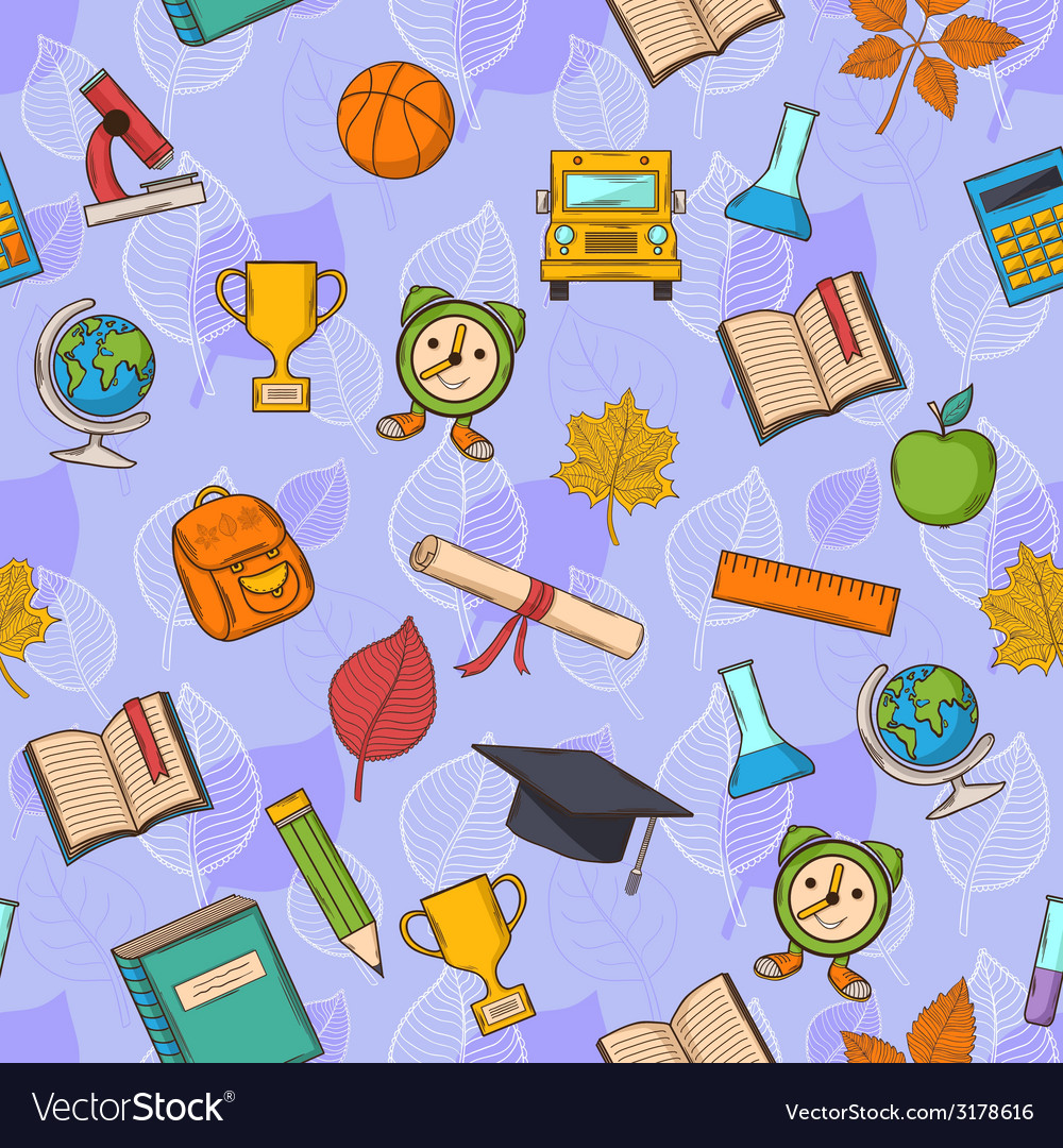Seamless pattern back to school on purple vector   Price: 1 Credit (USD $1)
