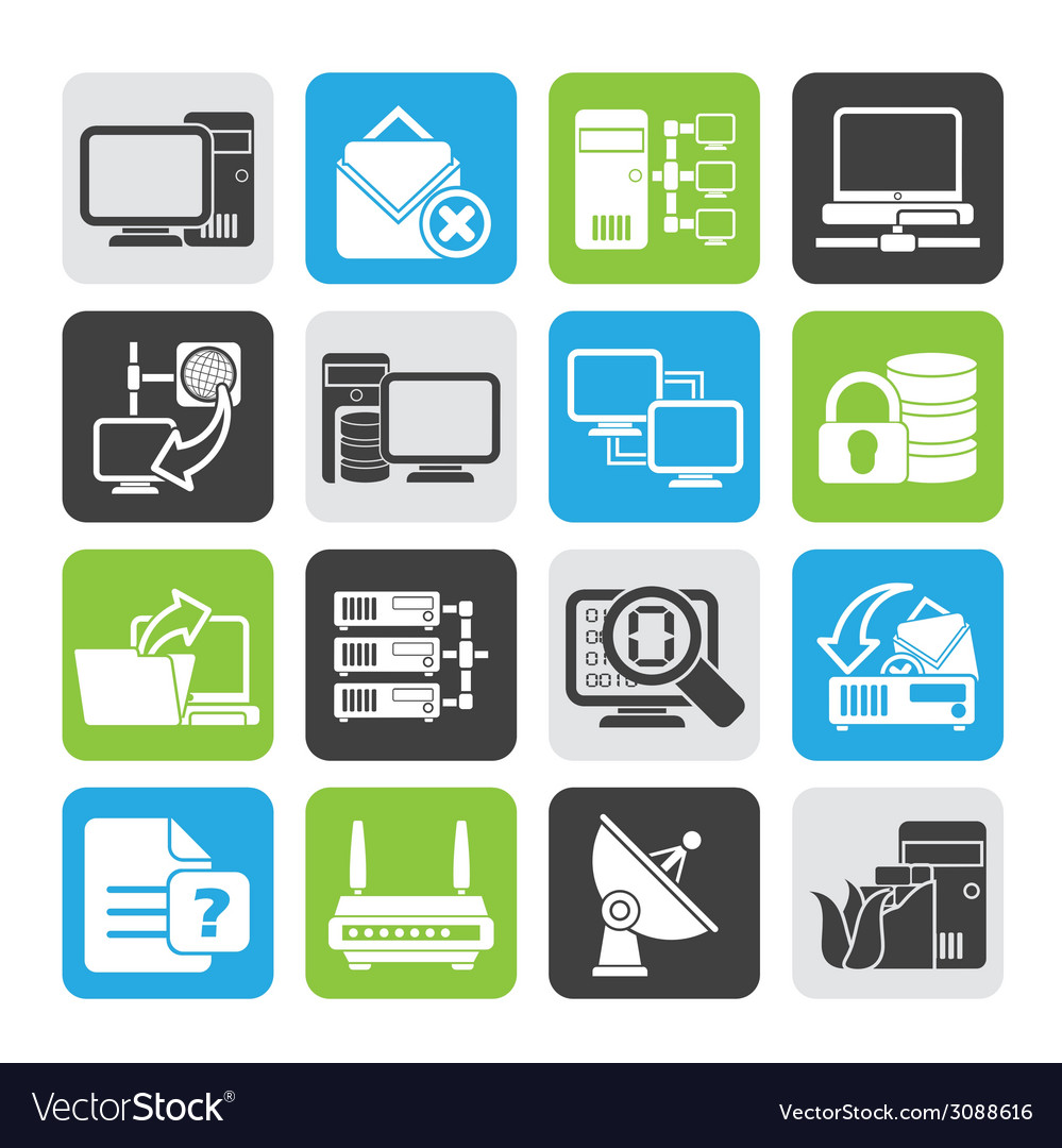 Silhouette computer network and internet icons vector | Price: 1 Credit (USD $1)