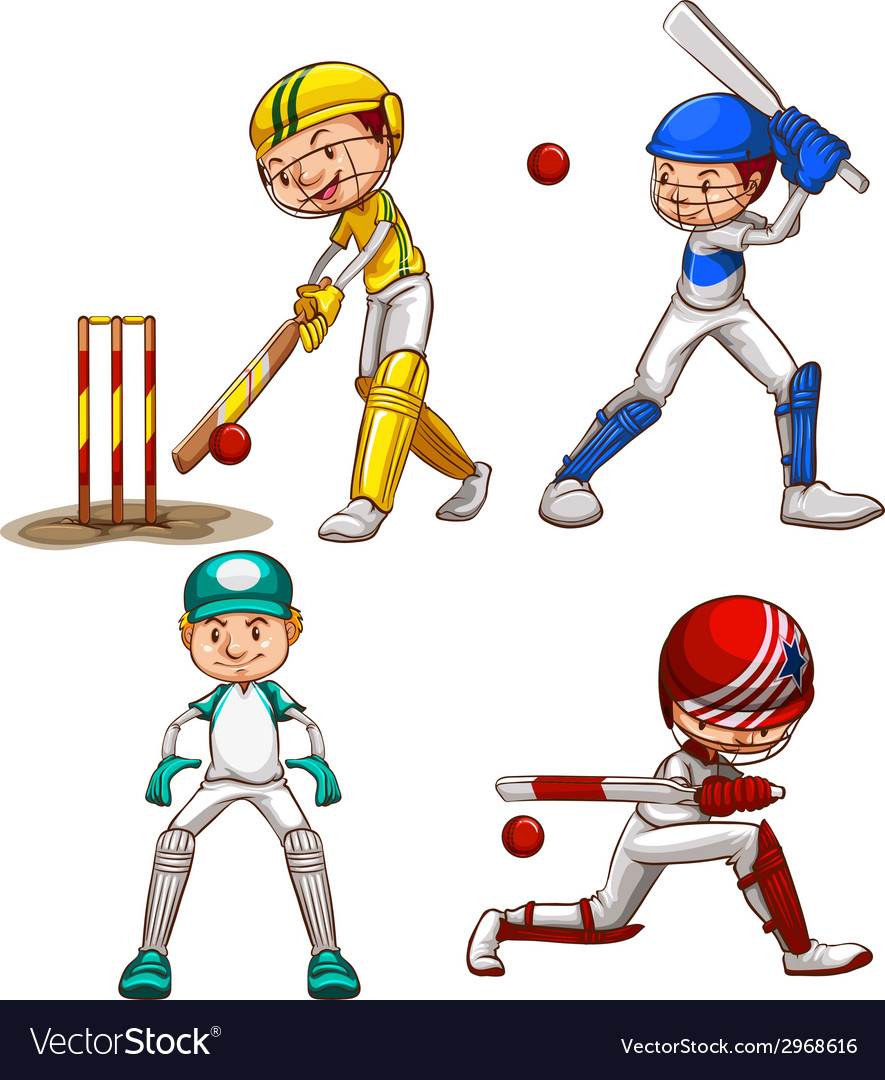 Simple sketches of men playing cricket vector | Price: 1 Credit (USD $1)