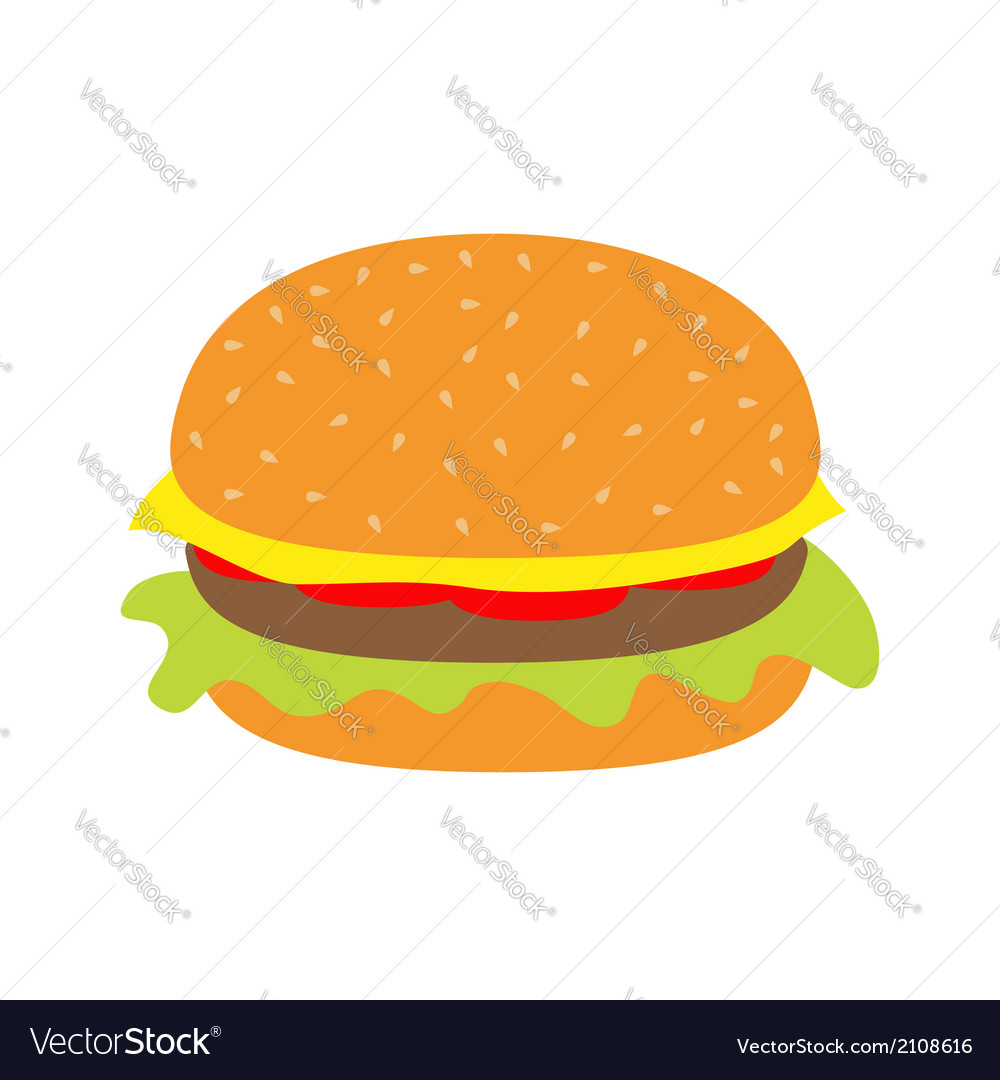 Tasty hamburger icon with meat tomato salad cheese vector | Price: 1 Credit (USD $1)