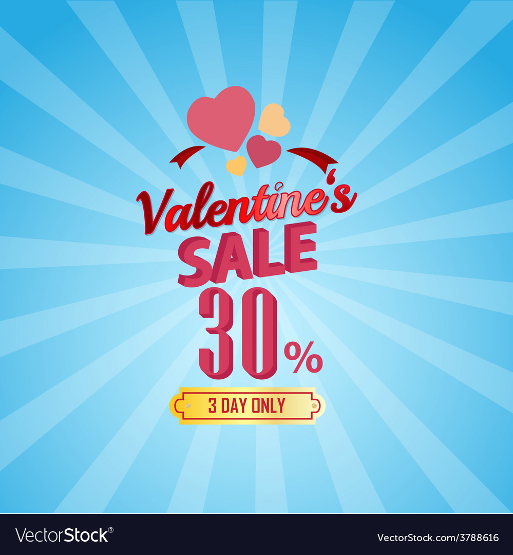 Valentines day sale 30 percent typographic vector | Price: 1 Credit (USD $1)