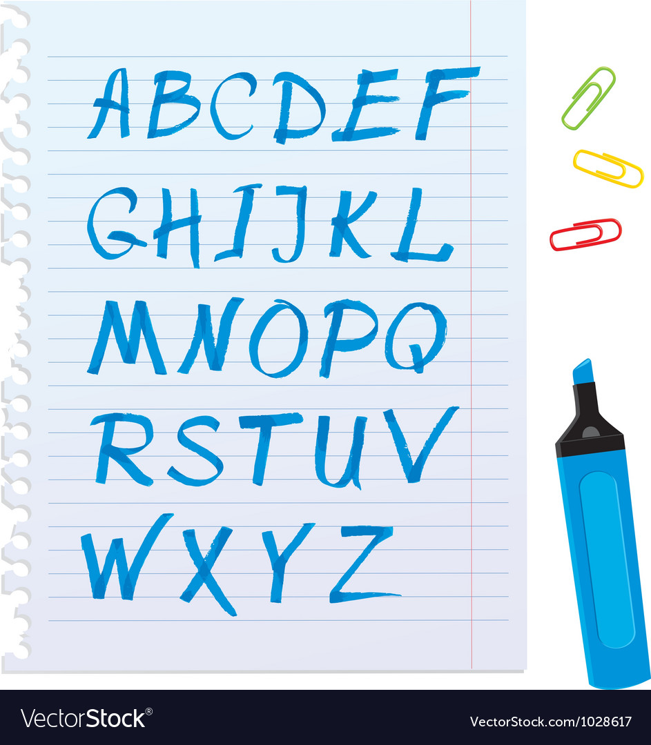 Alphabet set - letters are made of blue marker vector | Price: 1 Credit (USD $1)