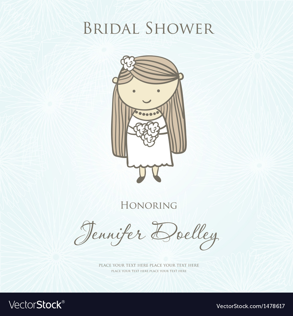 Bridal shower or wedding invitation with cute vector | Price: 1 Credit (USD $1)