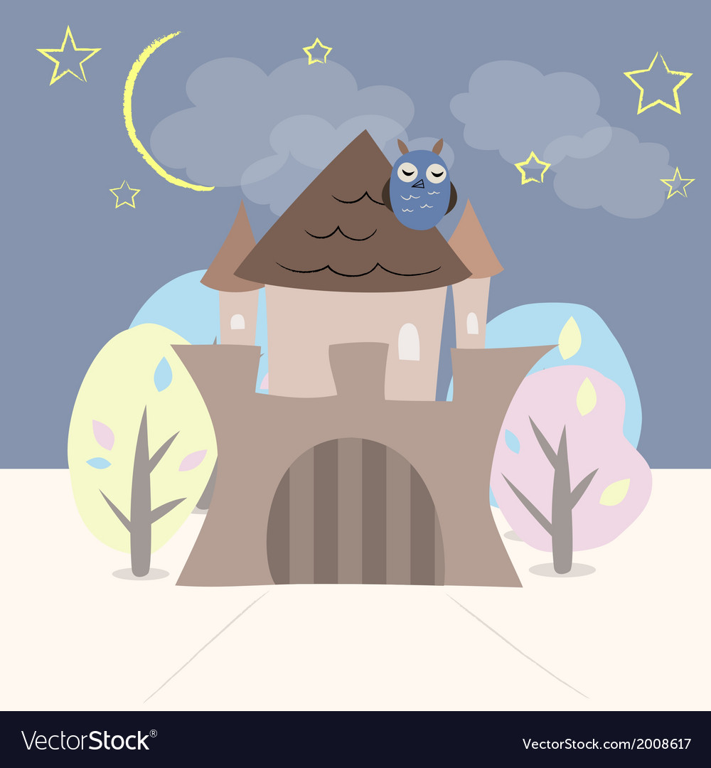 Castle with trees owl stars and moon vector | Price: 1 Credit (USD $1)