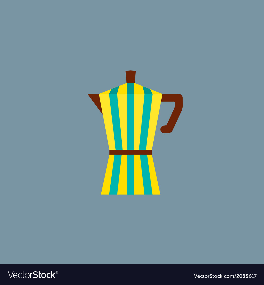 Colorful stripes coffee pot vector | Price: 1 Credit (USD $1)