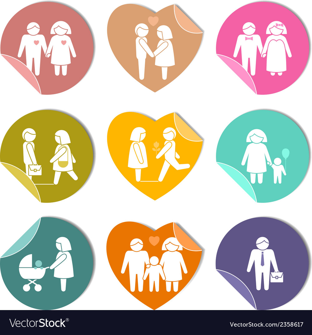 Family stickers set vector | Price: 1 Credit (USD $1)