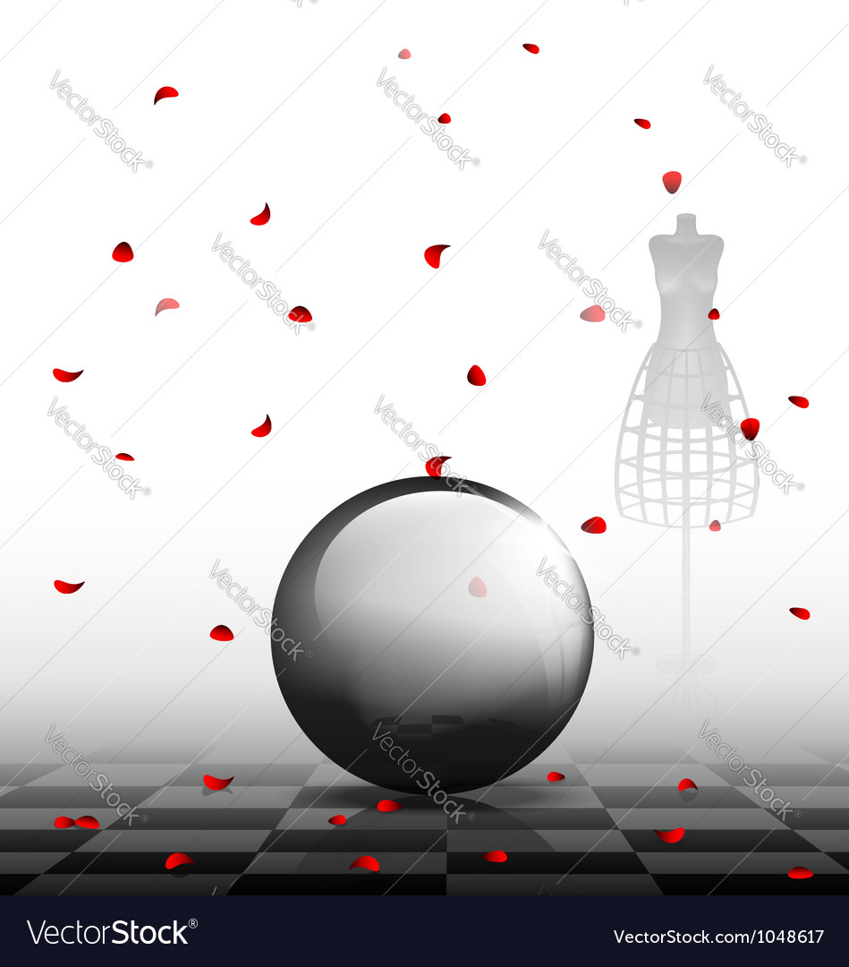 Glass ball and red petals vector | Price: 1 Credit (USD $1)