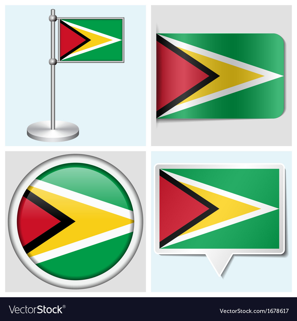 Guyana flag - sticker button label flagstaff vector | Price: 1 Credit (USD $1)