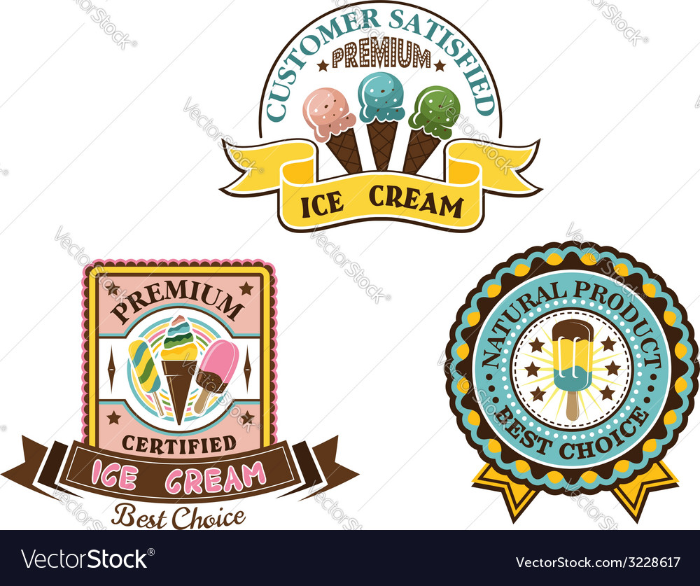 Ice cream badges and labels vector | Price: 1 Credit (USD $1)
