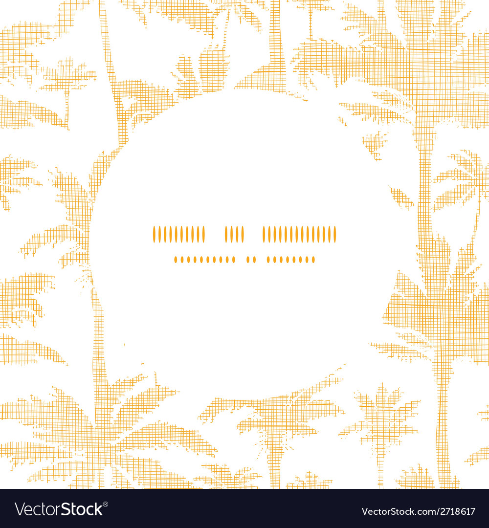 Palm trees golden textile frame circle pattern vector | Price: 1 Credit (USD $1)