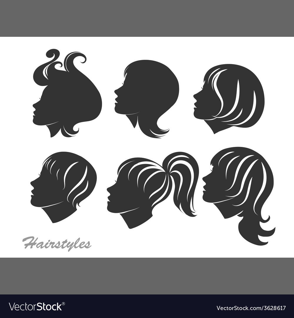 Silhouettes of women with hairstyles for design vector | Price: 1 Credit (USD $1)