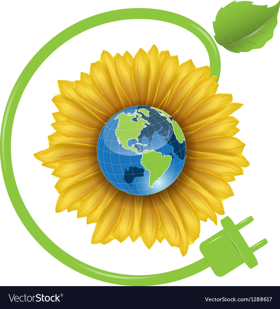 Sunflower and globe vector | Price: 1 Credit (USD $1)