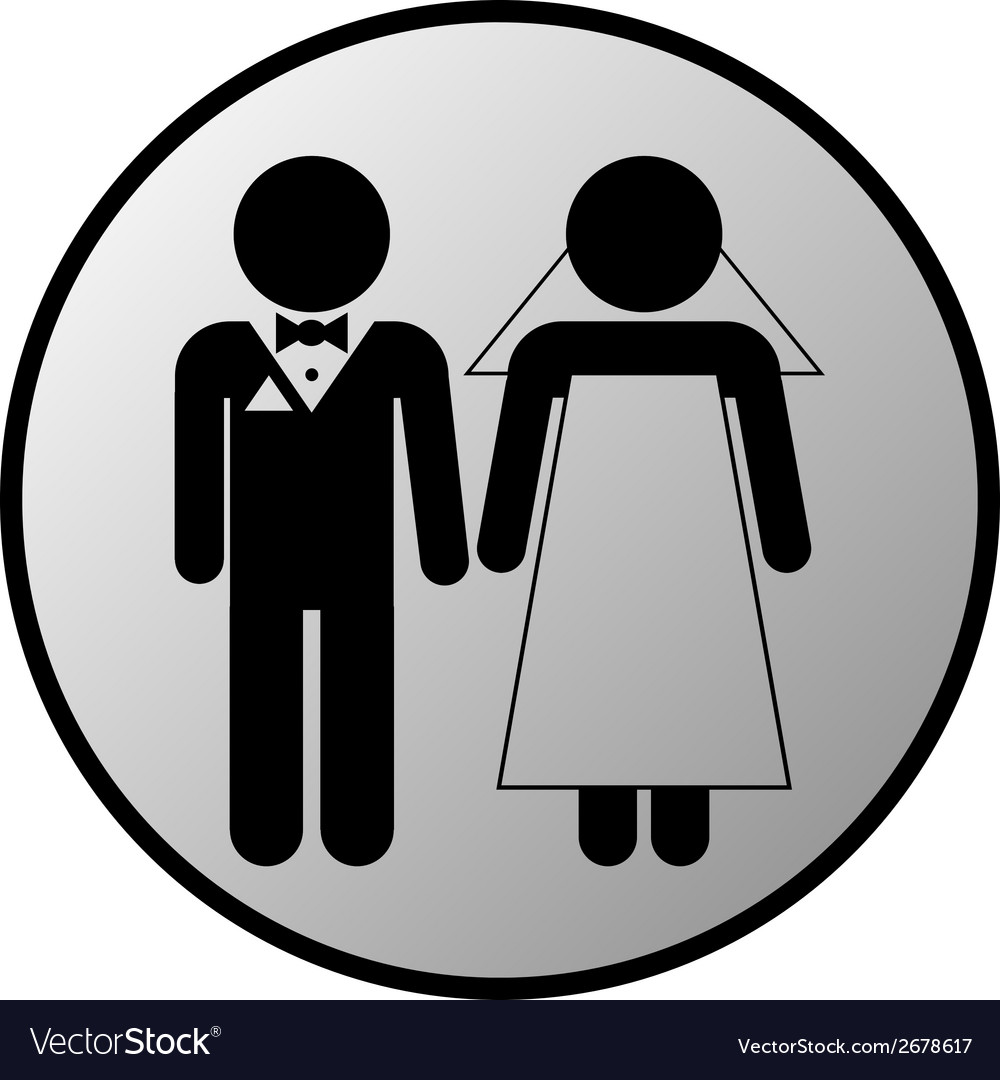 Wedding couple button vector | Price: 1 Credit (USD $1)