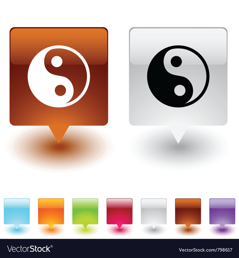 Yinyang square button vector | Price: 1 Credit (USD $1)