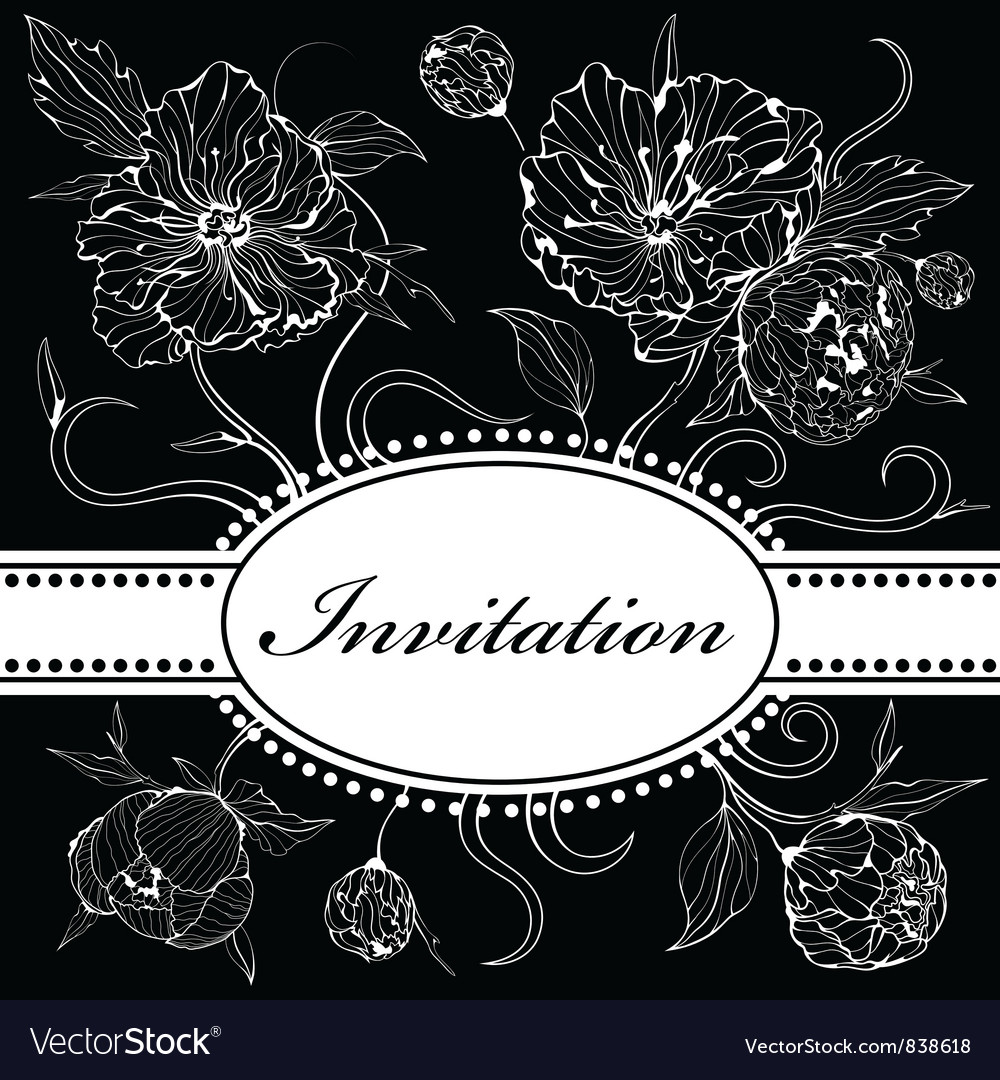 Black and white invitation with peony flowers vector | Price: 1 Credit (USD $1)