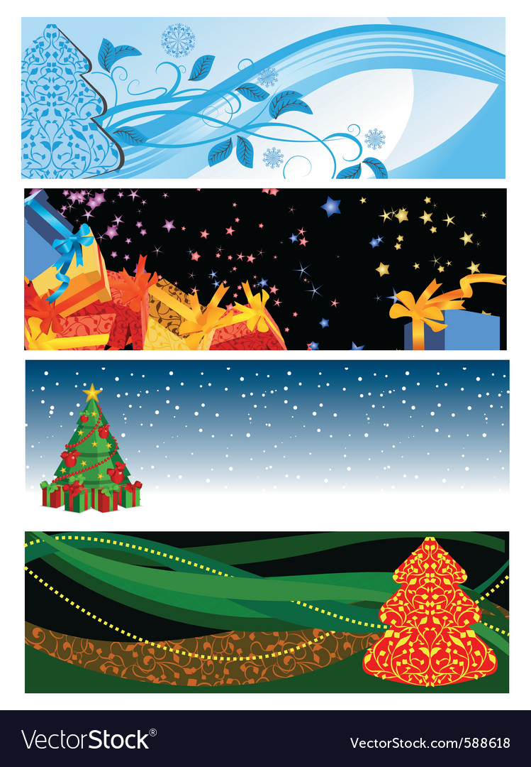 Christmas horizontal banners vector | Price: 5 Credit (USD $5)