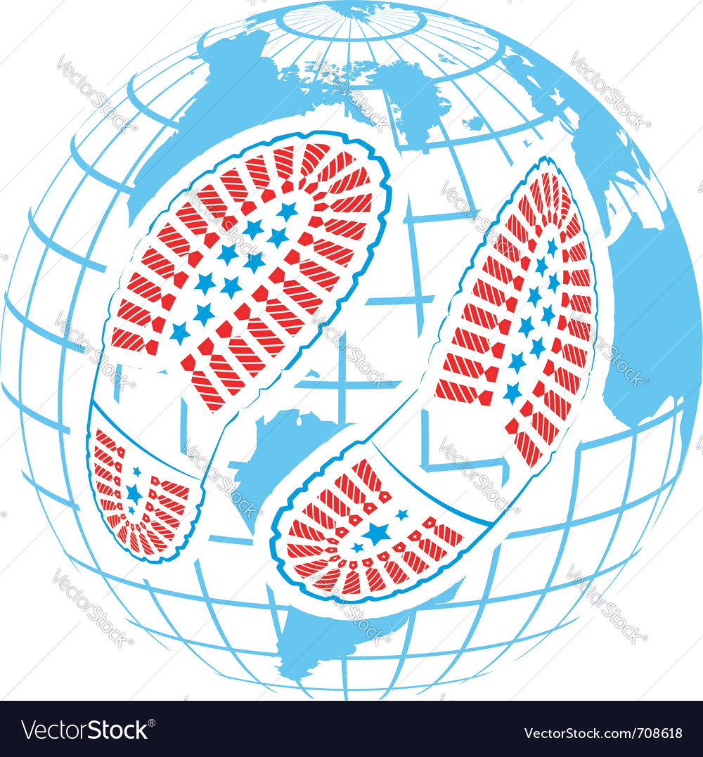 Foot prints around globe vector | Price: 1 Credit (USD $1)
